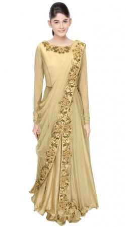 Fashionable Cream Silk Embroidered Saree Style Gown SUUDS29504