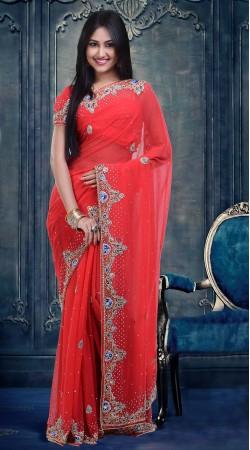 Fashionable Crimson Faux Georgette Stone Work Wedding Wear Saree ZP1804