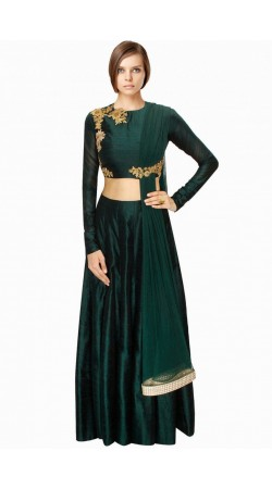 Fashionable Dark Green Crop Top Lehenga Attached Dupatta SUUDL4714