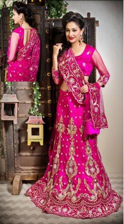 Fashionable Dark Pink Net Wedding Lehenga Choli With Designer Dupatta LD002005