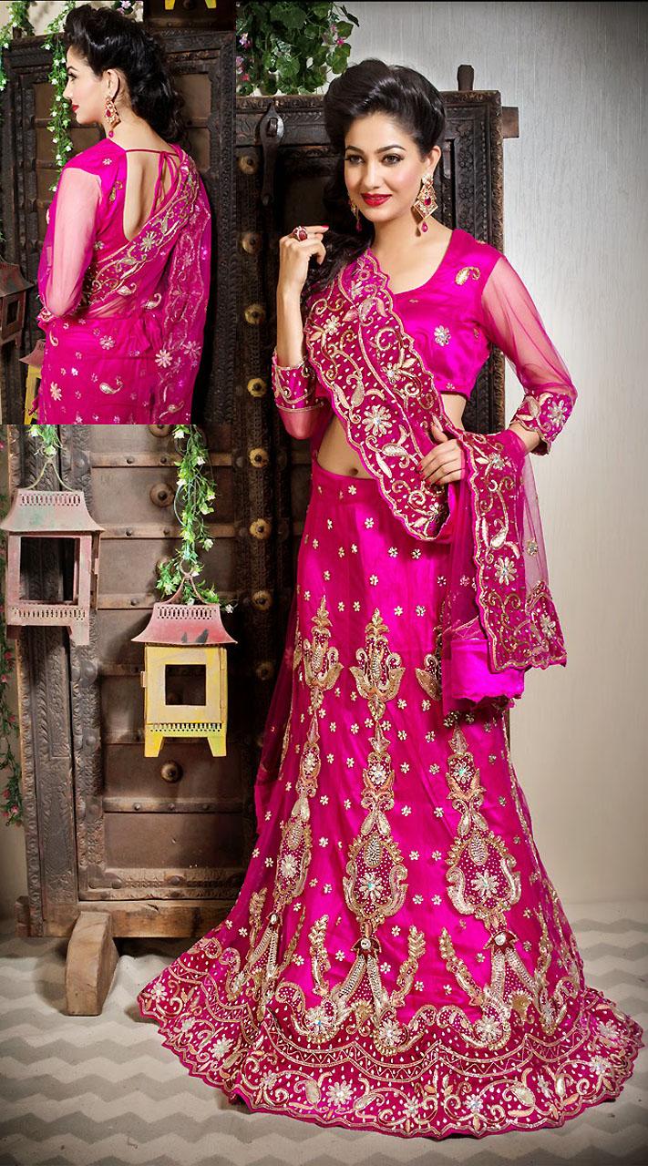 Pink Net Saree: Pink Net Wedding Lehenga With Designer Dupatta LD002005
