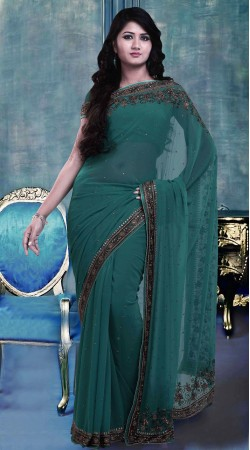 Fashionable Dark Teal Faux Georgette Exclusive Saree With Blouse ZP1504
