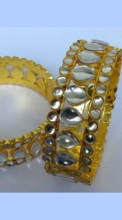 Fashionable Designer Cut Kundan Golden Plated Bangle Kada N001897