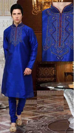 Fashionable Embroidered Blue Art Dupion Silk Kurta Payjama DTKP10538