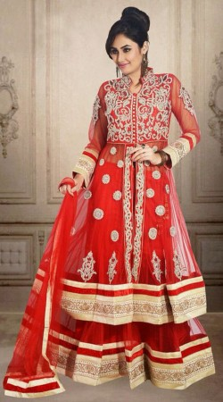 Fashionable Embroidered Red Net Wedding Long Choli Lehenga DT902334
