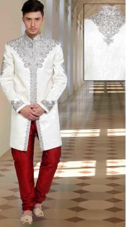 Fashionable Embroidered White Brocade Wedding Sherwani DTWSH835