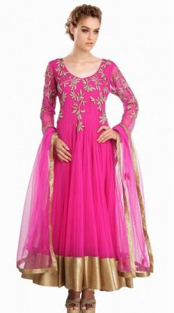 Fashionable Golden Border Ruby Net Readymade Party Wear Salwar Kameez SU15110