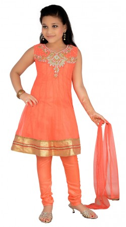 Fashionable Golden Border Salmon Net Readymade Kids Salwar Kameez DT1340