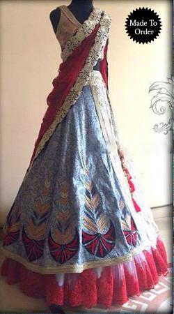 Fashionable Greyish Blue Designer Replica A-Line Lehenga Choli BP00107