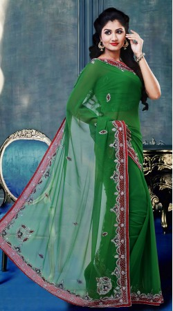 Fashionable Light Green Faux Georgette Exclusive Saree ZP2204