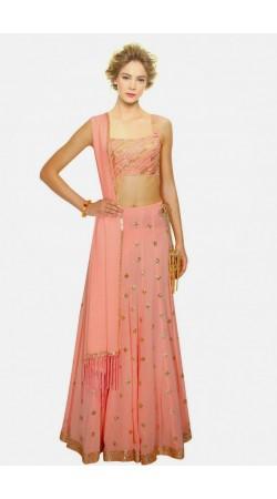Fashionable Light Pink Crepe And Georgette Wedding Lehenga Choli SUUDL4214