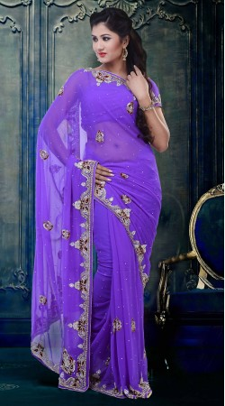 Fashionable Light Purple Faux Georgette Beautiful Saree With Blouse ZP2404