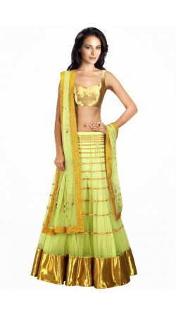 Fashionable Lime Green Net And Brocade Wedding Lehenga Choli SUUDL7714