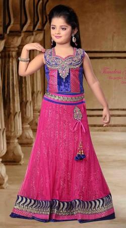 Fashionable Magenta Pink Net Readymade Kids Lehenga Choli DT302241