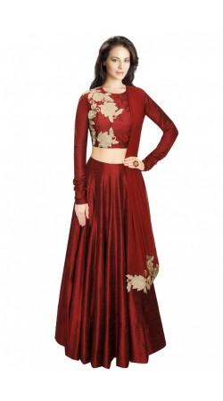 Fashionable Maroon Silk And Net Wedding Lehenga Choli SUUDL5214
