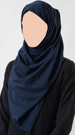 Fashionable Navy Blue Crepe Women Hijab BP0849