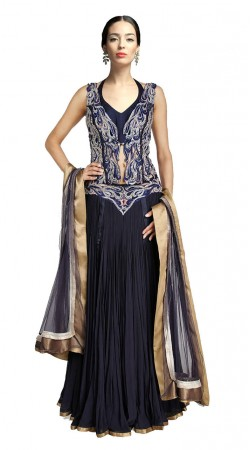 Fashionable Navy Blue Crush Designer Lehenga Choli With Dupatta SUUDS27204