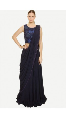 Fashionable Navy Blue Georgette And Net Lehenga Choli With Attached Dupatta SUUDL5614