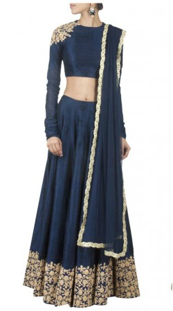 Fashionable Navy Blue Raw Silk Lehenga Choli With Dupatta THS14201