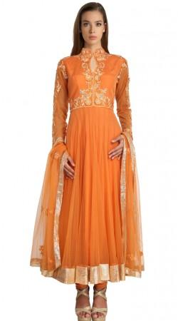 Fashionable Orange Net Party Wear Salwar Kameez With Dupatta SU21011