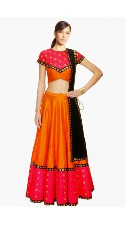 Fashionable Orange Silk Wedding Lehenga Choli With Black Dupatta SUUDL4914