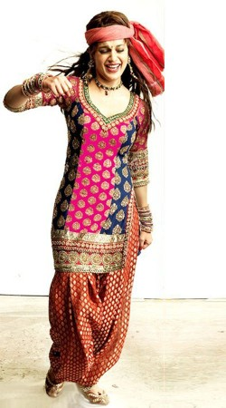 Fashionable Pink And Red Kangana Ranaut Replica Patiala Suit VPBKD004
