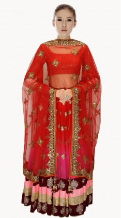 Fashionable Pink And Red Net And Velvet Wedding Lehenga Choli SUUDL313