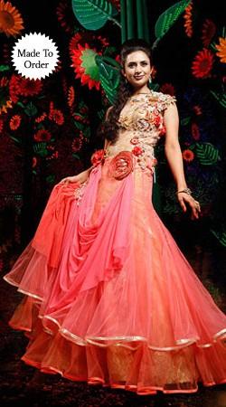 Fashionable Pink Net Divyanka Tripathi Designer Wedding Replica Gown BP2408