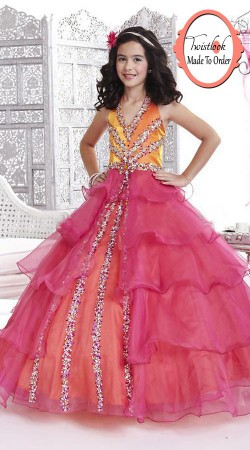 Fashionable Pink Net Princess Kids Flared Gown BP0813