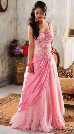 Fashionable Pink Net Readymade Indowestern Gown