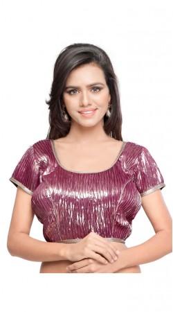 Fashionable Pinkish Purple Art Silk Crushed Designer Blouse BPMS0312