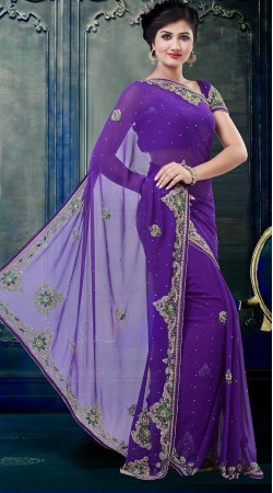 Fashionable Purple Faux Georgette Exclusive Saree With Blouse ZP3604