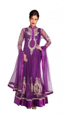 Fashionable Purple Net Floor Length Anarkali Suit With Dupatta SUUDS27504