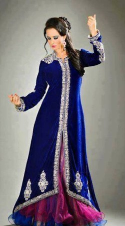 Fashionable Purple Net And Royal Blue Designer Long Choli Lehenga SMIBO00C