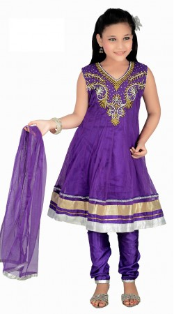 Fashionable Purple Net Readymade Kids Salwar Kameez With Dupatta DT0140