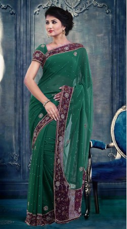 Fashionable Rama Green Faux Georgette Exclusive Saree With Blouse ZP3804