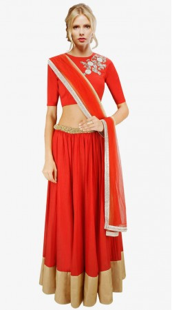 Fashionable Red Cotton Silk And Net A-Line Lehenga Choli SUUDL3413