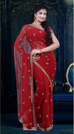 Fashionable Red Faux Georgette Diwali Saree With Matching Blouse ZP2704