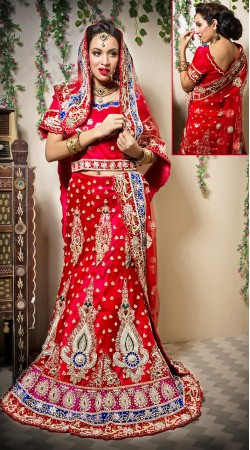 Fashionable Red Net Bridal Lehenga Choli LD00305