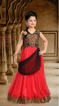 Fashionable Red Net Designer Readymade Princess Kids Gown DT51842