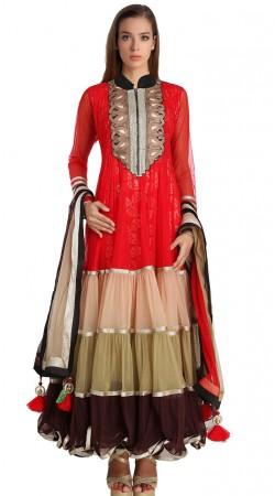Fashionable Red Net Readymade Party Wear Salwar Kameez SU20010
