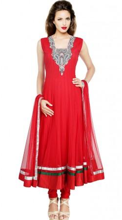 Fashionable Red Net Readymade Plus Size Salwar Kameez SU18110