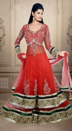 Fashionable Red Net Wedding Long Choli Lehenga With Dupatta DT900234