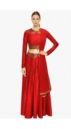 Fashionable Red Silk Designer Crop Top Lehenga SUUDL5414