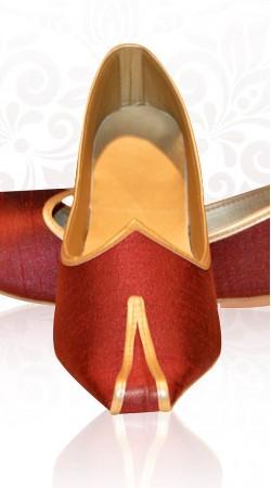 Fashionable Red Raw Silk Mens Wedding Mojari For Sherwani ZP2007