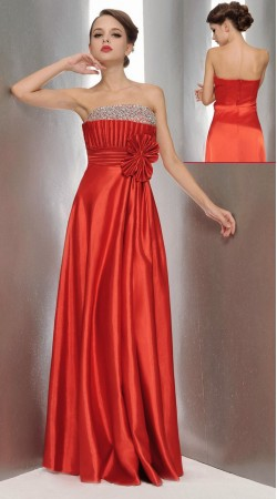 Fashionable Red Satin Embroidered Designer Prom Dress 3FD4062345