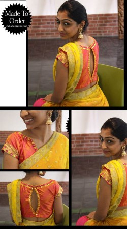 Fashionable Salmon Premium Fabric Designer Blouse For Saree VPBDB27