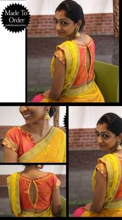 Fashionable Salmon Premium Fabric Designer Blouse For Saree VPBDB27
