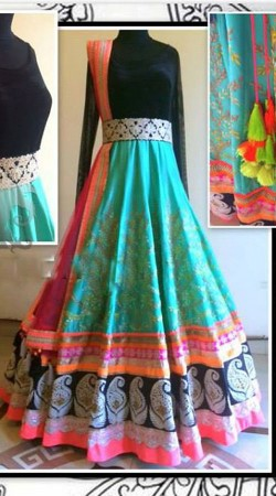 Fashionable Sea Green Premium Fabric Replica Floor Touch Anarkali BP1604