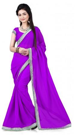 Fashionable Silver Border Purple Bridesmaid Saree With Moti Work RJ39710